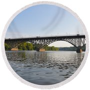 The Schuylkill River And Strawbery Mansion Bridge Round Beach Towel by Bill Cannon