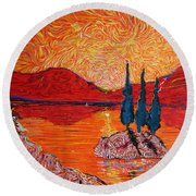 The Scot And The Mermaid Round Beach Towel