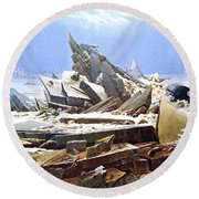 The Sea Of Ice Polar Sea Round Beach Towel