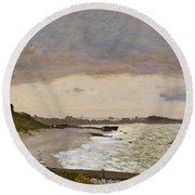 The Seashore At Sainte Adresse Round Beach Towel