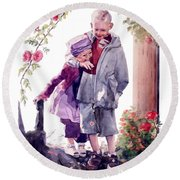 Watercolor Of A Boy And Girl In Their Secret Garden Round Beach Towel