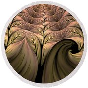 The Secret World Of Plants Abstract Round Beach Towel