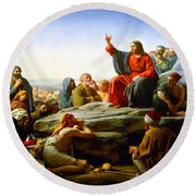 The Sermon On The Mount  Round Beach Towel