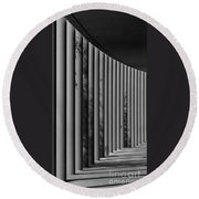 The Shadows And Pillars  Black And White Round Beach Towel