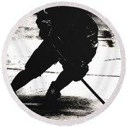 The Shadows Of Hockey Round Beach Towel
