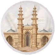 The Shaking Minarets Of Ahmedabad Round Beach Towel