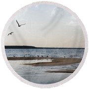 The Shallows At Whitefish Bay Round Beach Towel