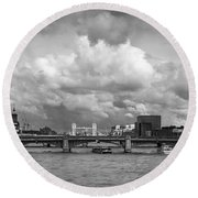 The Shard And Thames View Black And White Version Round Beach Towel