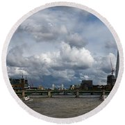 The Shard And The Thames At Southwark Round Beach Towel