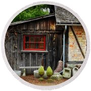 The Shed At Monches Farm Round Beach Towel by Mary Machare