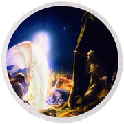 The Shepherds And The Angel Round Beach Towel