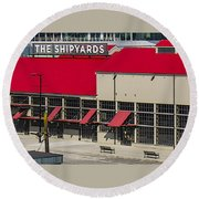 The Shipyards In Vancouver Round Beach Towel