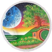 The Shires Moons  Round Beach Towel