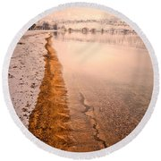 The Shore In Winter Round Beach Towel