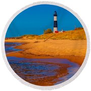 The Shore To Big Sable Round Beach Towel