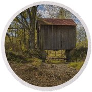 The Shortest Covered Bridge I Have Seen Round Beach Towel