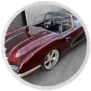 The Show Winner 1958 Corvette Round Beach Towel