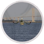The Shrimp Boat Predator  Art Round Beach Towel