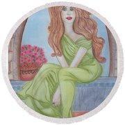 The Sibyl - Grecian Goddess Round Beach Towel