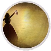 The Lady With The Lamp Round Beach Towel
