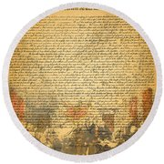 The Signing Of The United States Declaration Of Independence Round Beach Towel