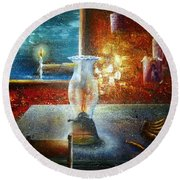 The Silence Of The Hills Round Beach Towel
