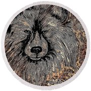The Silver Wolf 2 Round Beach Towel