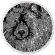 The Silver Wolf Round Beach Towel
