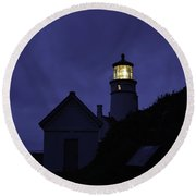 The Silvery Moon And The Light House Round Beach Towel