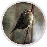 The Singing Sparrow Round Beach Towel