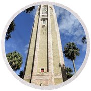 The Singing Tower  Round Beach Towel