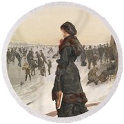 The Skater Round Beach Towel by Edward John Gregory