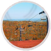 The Skiing Fields In Autumn Round Beach Towel
