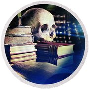 The Skull The Spell Book And The Rose Round Beach Towel