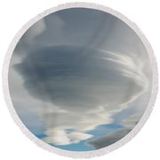 The Sky Over Puerto Natales In Patagonia Chile Round Beach Towel