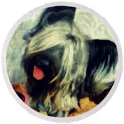 The Skye  Terrier Tilt   Round Beach Towel