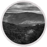 The Smokies In Black And White Round Beach Towel