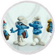 The Smurfs Movie Round Beach Towel