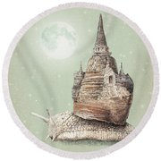The Snail's Dream Round Beach Towel