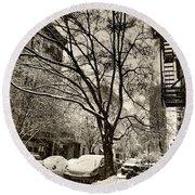 The Snow Tree - Sepia Antique Look Round Beach Towel