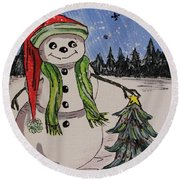 The Snowman's Tree Round Beach Towel