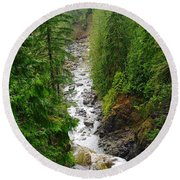 The Snowqualmie River Round Beach Towel