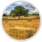 The Solitary Farm Tree Round Beach Towel
