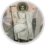 The Son Of God   The Word Of God Round Beach Towel by Victor Mikhailovich Vasnetsov