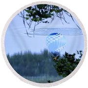 The Source Of Lake Ripples 01 Round Beach Towel