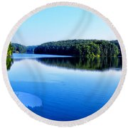 The Source Of Lake Ripples 02 Round Beach Towel