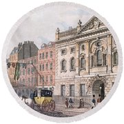 The South Front Of Ironmongers Hall, From R. Ackermanns Repository Of Arts 1811 Colour Litho Round Beach Towel