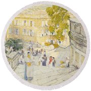 The Spanish Steps Of Rome Round Beach Towel