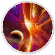 The Spirit Realm Of The Saphire Nebula Round Beach Towel