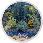 The Spokane River In The Fall Colors Round Beach Towel